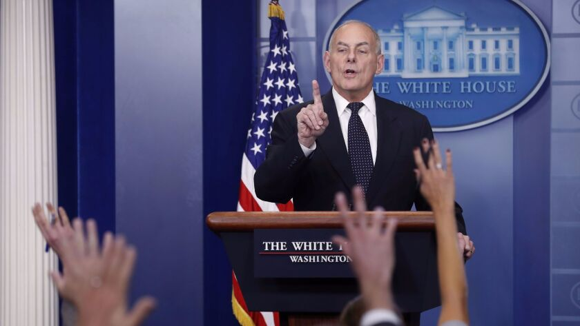 White House Chief of Staff John Kelly takes questions during the White House daily briefing, Washington, USA - 19 Oct 2017
