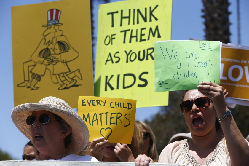 Last month, demonstrators gathered at Naval Base Ventura County. The shelter there for immigrant children is scheduled to close.