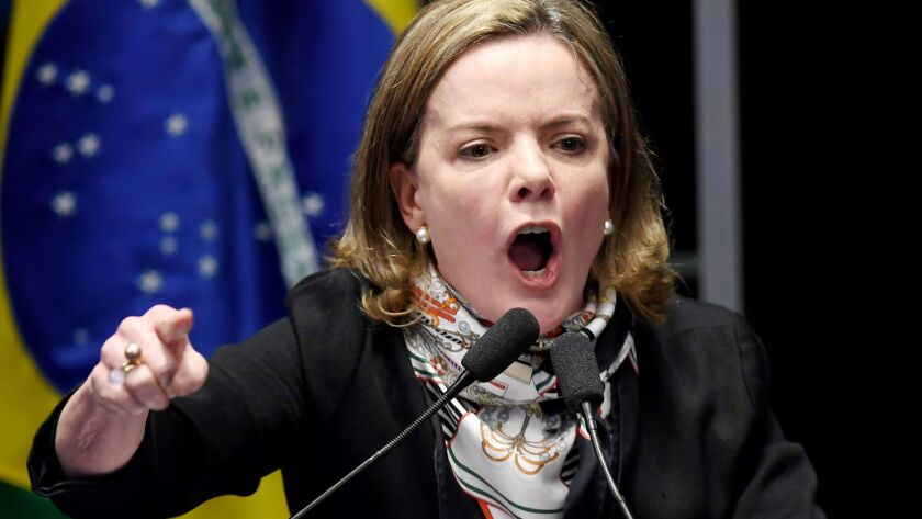 Brazilian opposition Sen. Gleisi Hoffmann delivers a speech during the labor reform vote at the Congress in Brasilia on July 11, 2017.