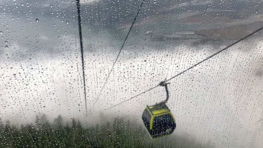 VANCOUVER, CANADA - At the Sea to Sky Gondola attraction visitors get spectacular views, while ridin