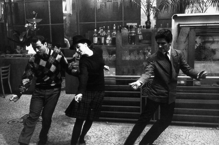"Claude Brasseur, Anna Karina and Sami Frey appear in a scene from Jean-Luc Godard's ""Band of Outsiders."""