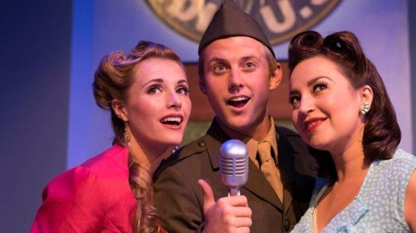 "Kelly Derouin, Zackary Scot Wolfe and Marlene Montes (from left) in ""The 1940s Radio Hour"" at New Village Arts Theatre."