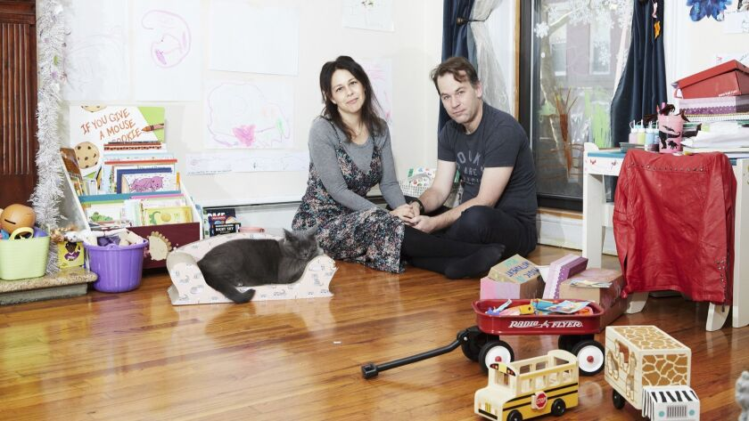 Mike Birbiglia and his wife, Jennifer Hope Stein, a poet, in their apartment in New York.