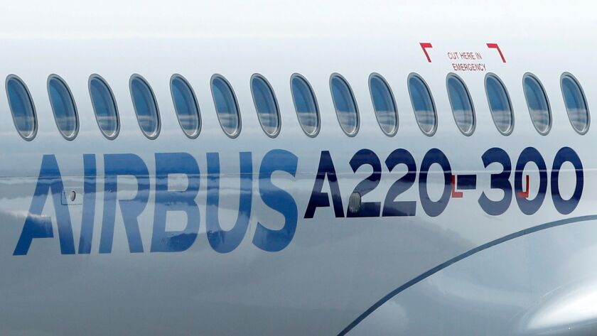New Airbus A220-300 Single-Aisle aircraft, Colomiers, France - 10 Jul 2018