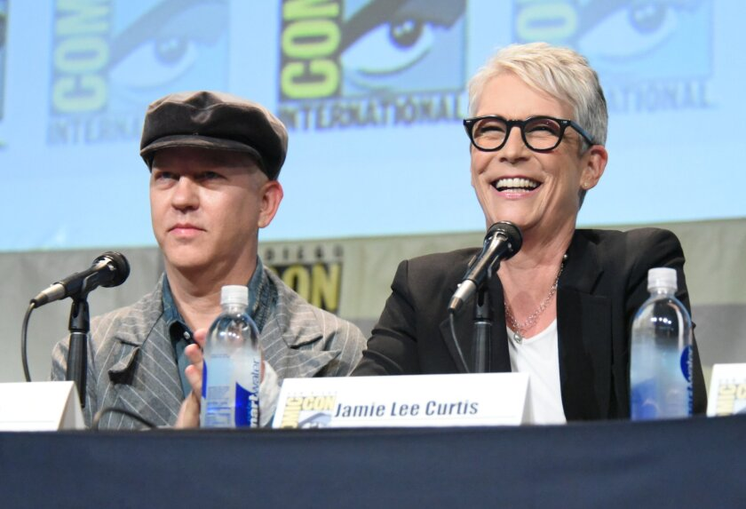 """Ryan Murphy and Jamie Lee Curtis at the """"American Horror Story"""" and """"Scream Queens"""" presentation at Comic-Con International on July 12."""