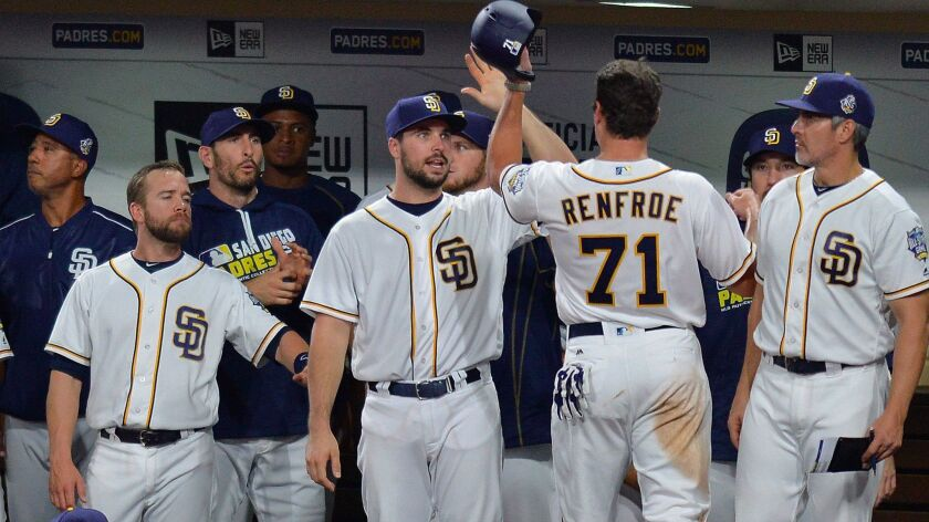 Padres right fielder Hunter Renfroe (71) is congratulated after scoring during the fourth inning against the Los Angeles Dodgers at Petco Park.
