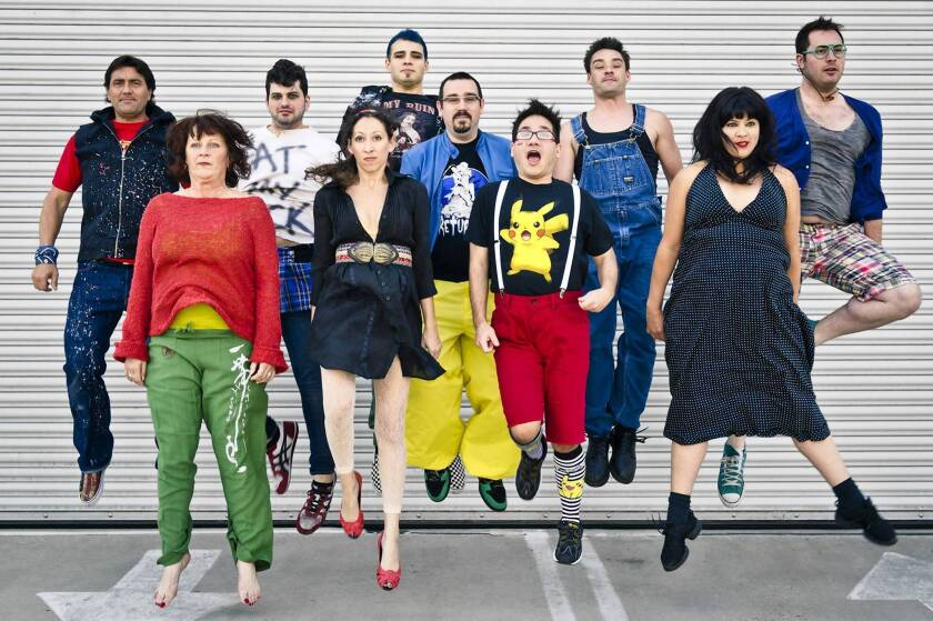 """The cast of """"pool (no water)"""" at Flight Theatre at the Complex."""