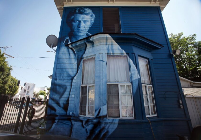"""Since 2002, the city of Los Angeles has imposed a ban on all mural painting on private buildings. Above, Kent Twitchell's """"Steve McQueen Monument."""""""