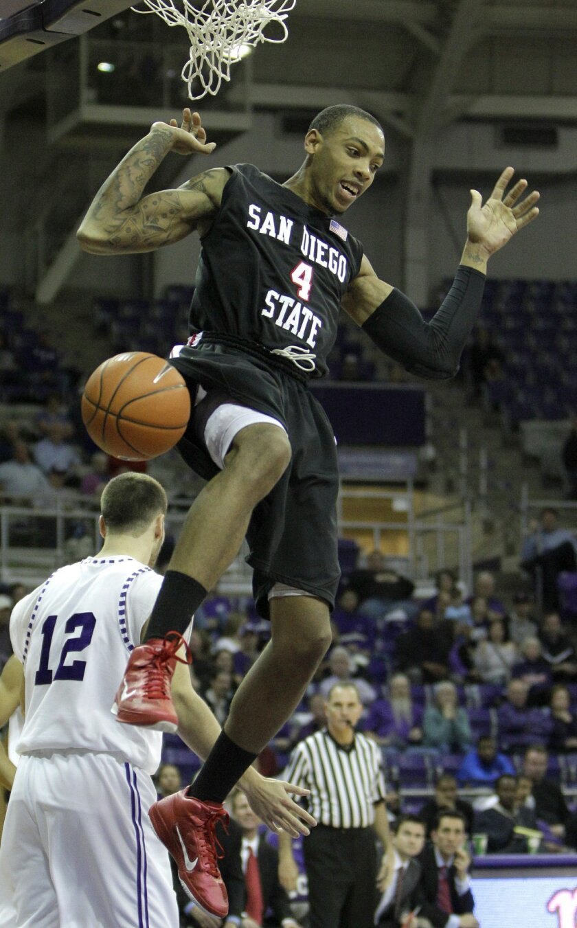 San Diego State's Malcolm Thomas (4) comes down after dunking against TCU's Nikola Gacesa (12) during the second half of an NCAA college basketball game in Fort Worth, Texas, Wednesday, Jan. 5, 2011. San Diego State won 66-53. (AP Photo/LM Otero)