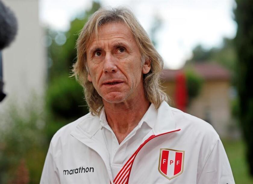 Peru's national soccer team head coach Ricardo Gareca gives a interview in Bad Schoenborn near Sinsheim, Germany, on Sept. 7, 2018. EPA-EFE/RONALD WITTEK
