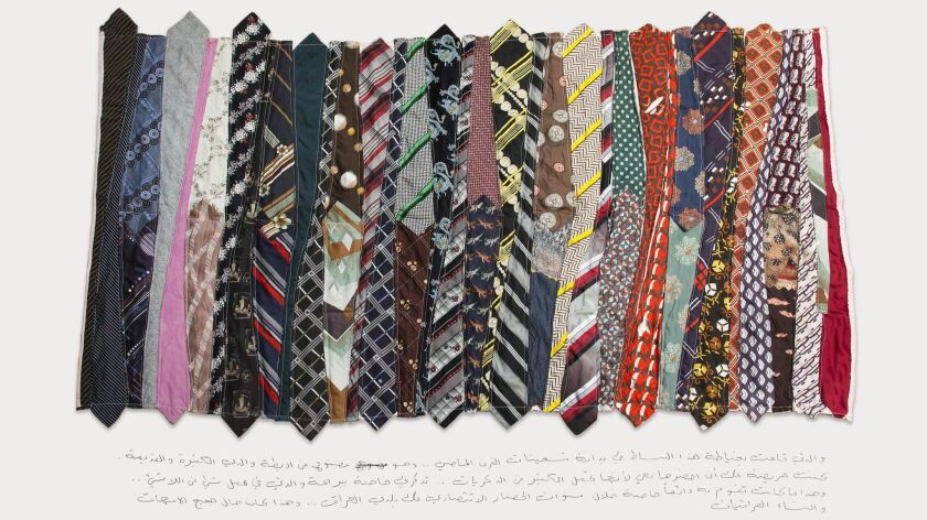 A carpet created from a father's old neckties is carried from Iraq to remember a mother who could m