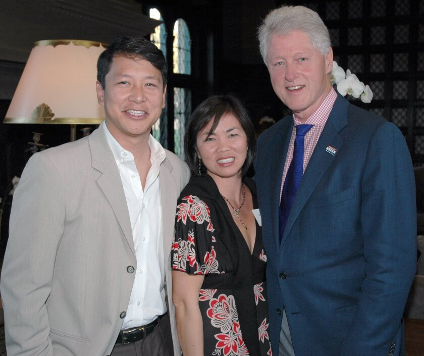 Dr. Ted Chan and his wife, Diana Loo, with former President Bill Clinton at a San Diego Foundation/Clinton Foundation event to support the 2007 Wildfires recovery efforts.