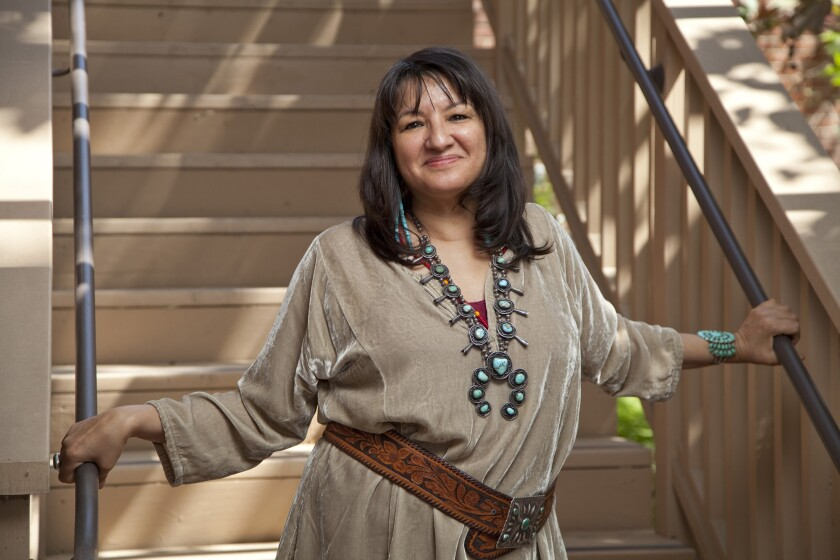 FE.author.0417. (Los Angeles) Author Sandra Cisneros photographed on the campus of University of So