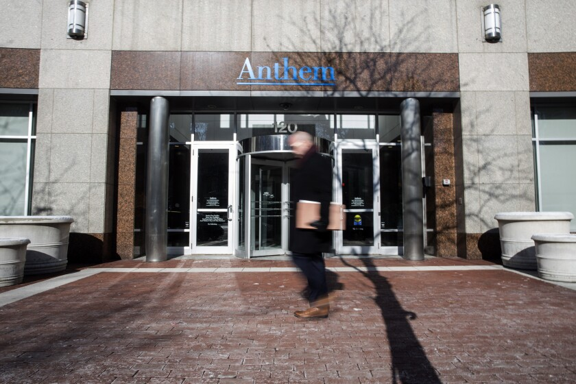 An exterior view of the Anthem headquarters in Indianapolis.