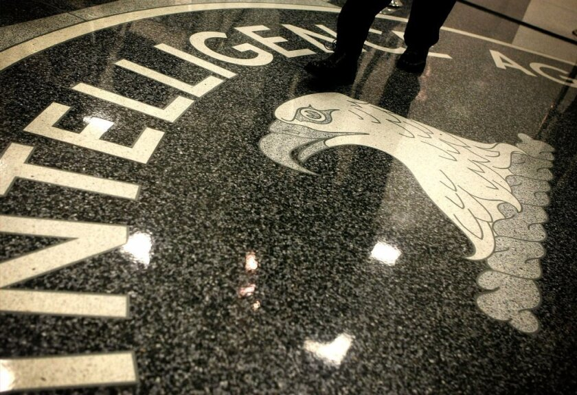 The CIA seal at the agency's Original Headquarters Building in in McLean, Va.