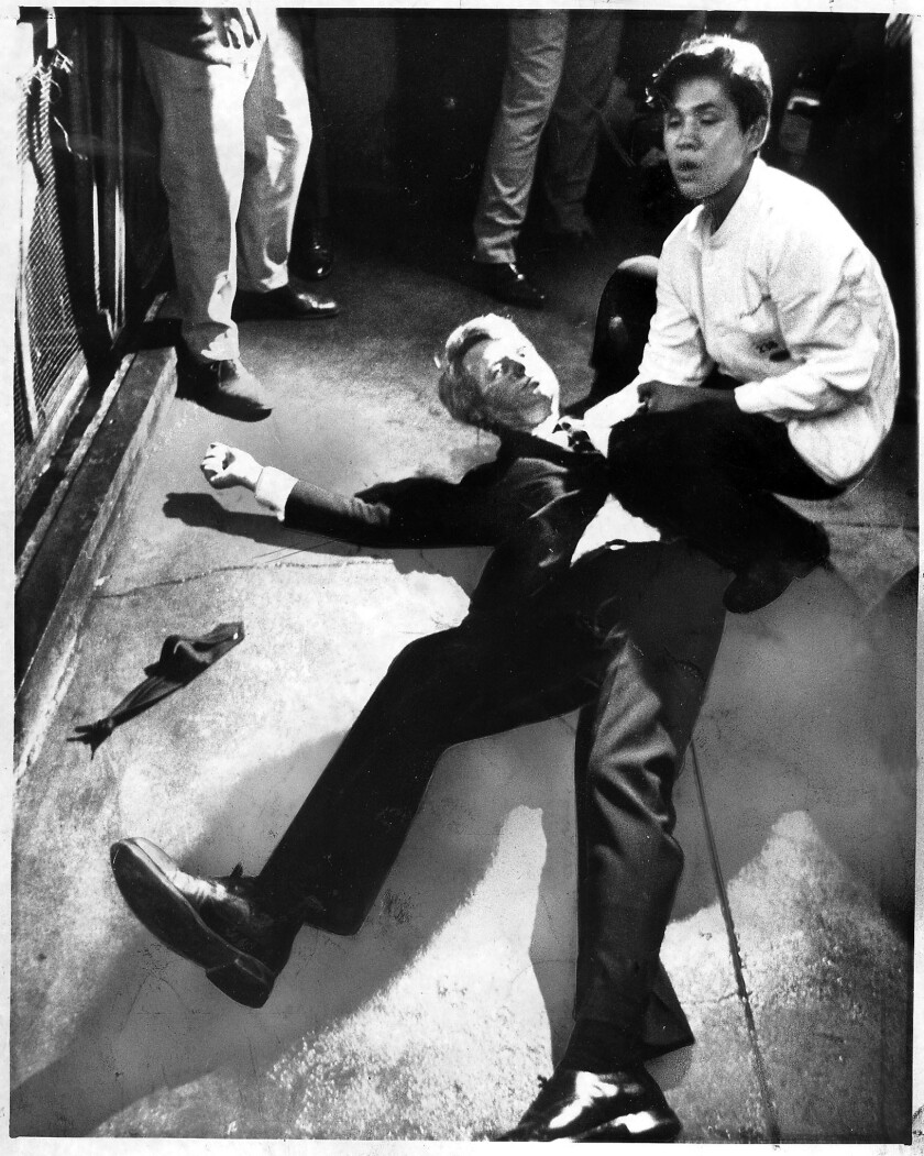 June 5, 1968: Presidential candidate Robert F. Kennedy lies on the floor at the Ambassador Hotel in