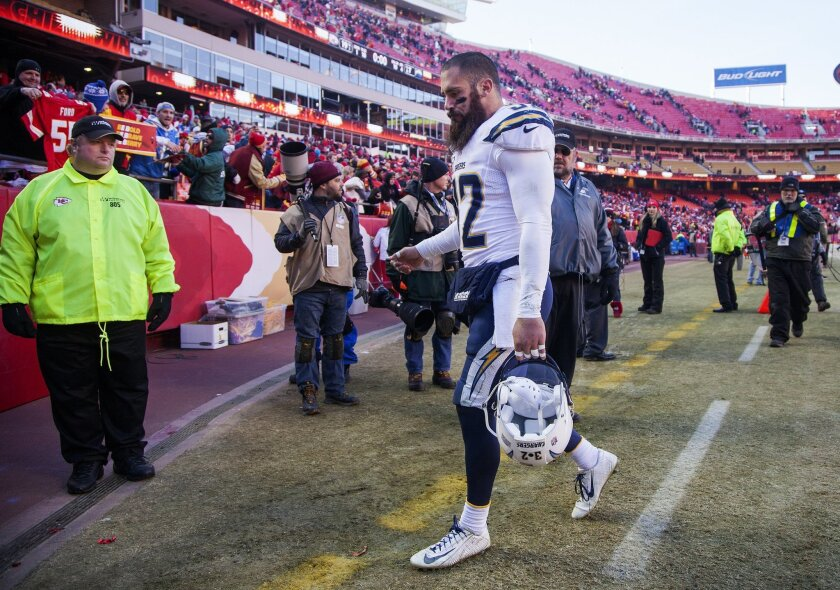 Eric Weddle was happier Sunday night after the Pro Bowl than he was here, walking off the field after the Chargers' season-ending 19-7 loss to the Kansas City Chiefs.
