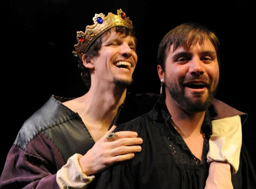 """Ross Hellwig (left) and Dangerfield G. Moore in Diversionary Theatre's production of """"Edward II."""""""