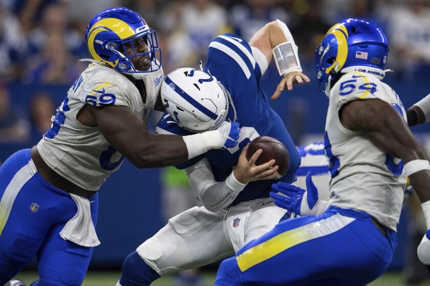 Rams defensive lineman Sebastian Joseph-Day (69) sacks Indianapolis Colts quarterback Carson Wentz.