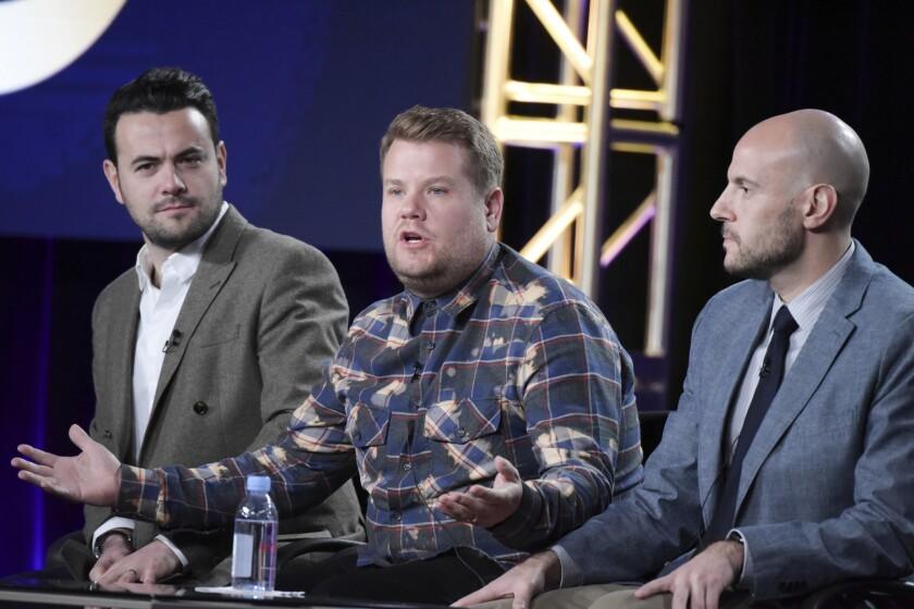 Ben Winston, left, James Corden and Eric Pankowski at TCA on Monday.
