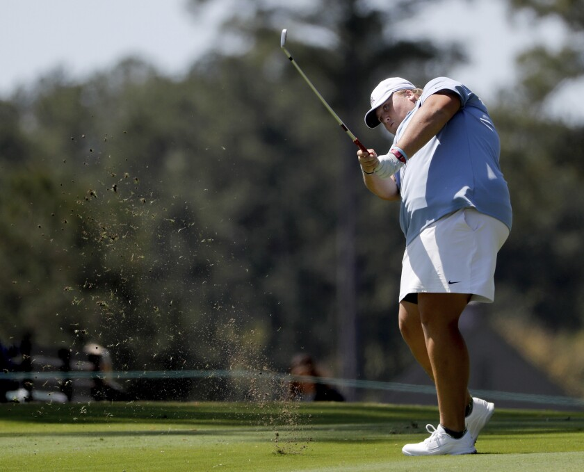 Haley Moore hits off the 10th fairway during the first round of the Augusta National Women's Amateur golf tournament at Champions Retreat in Evans, Ga., on Wednesday.