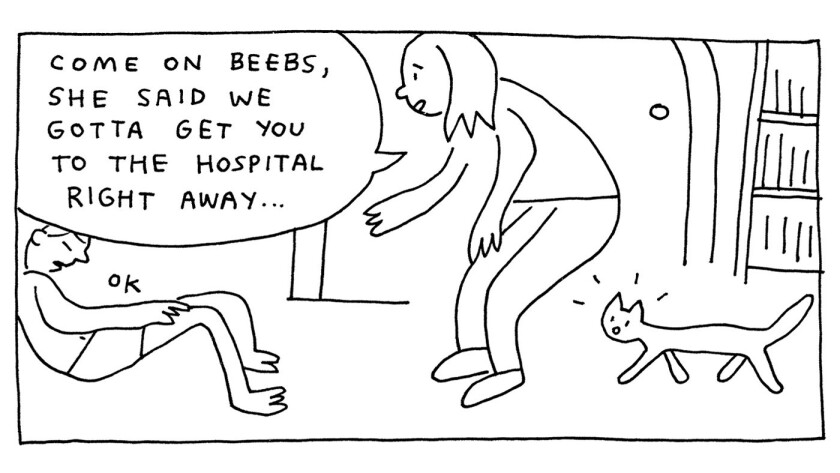 """An art panel from the graphic novel """"The Hospital Suite"""" from John Porcellino."""