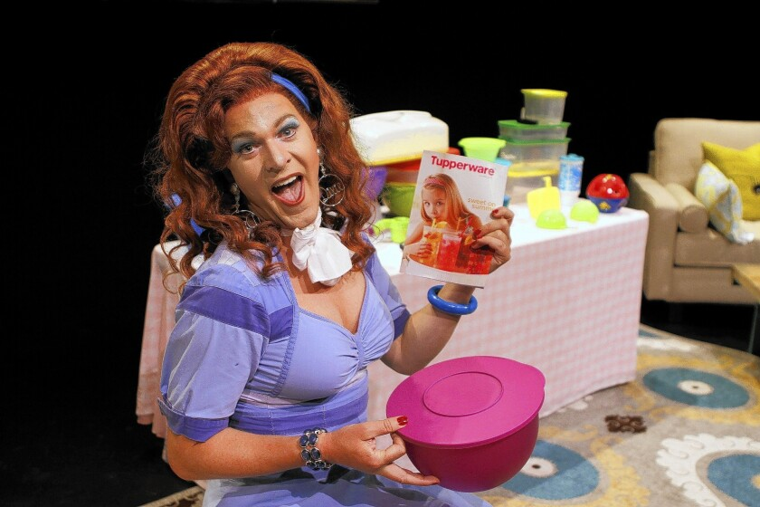"""Kris Andersson as Dixie Longate in """"Dixie's Tupperware Party"""" at the Geffen Playhouse."""