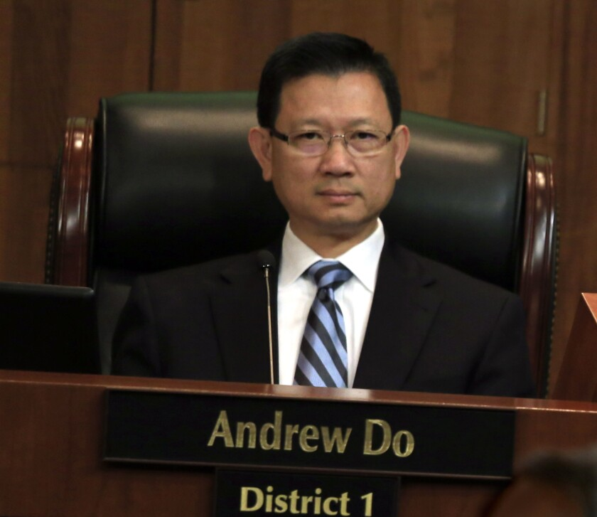Andrew Do on his first day on the Orange County Board of Supervisors. Do will keep his seat, now that a vote recount has ended in his favor.