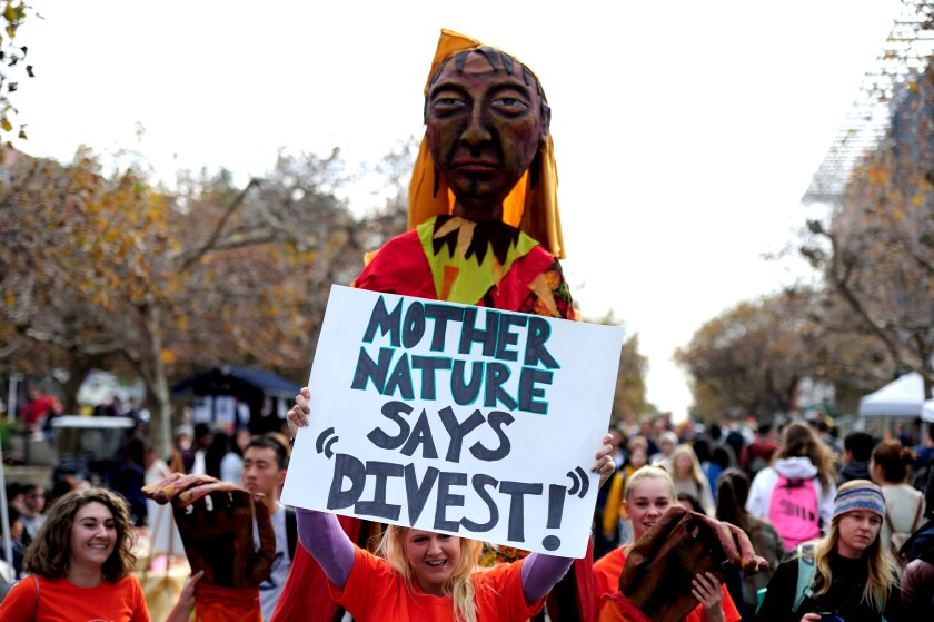 UC Berkeley students demonstrate in favor of fossil fuel divestment in 2014.