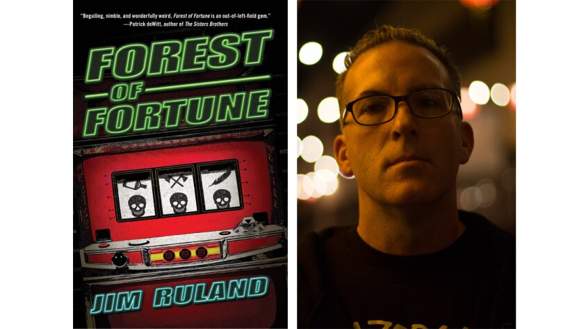 "Author Jim Ruland and the cover of his new book, ""Forest of Fortune."""