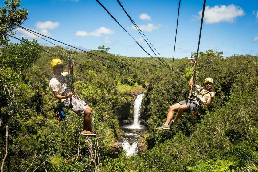 Zip-lining on the Big Island in Hawaii on a KapohoKine Adventures trip.