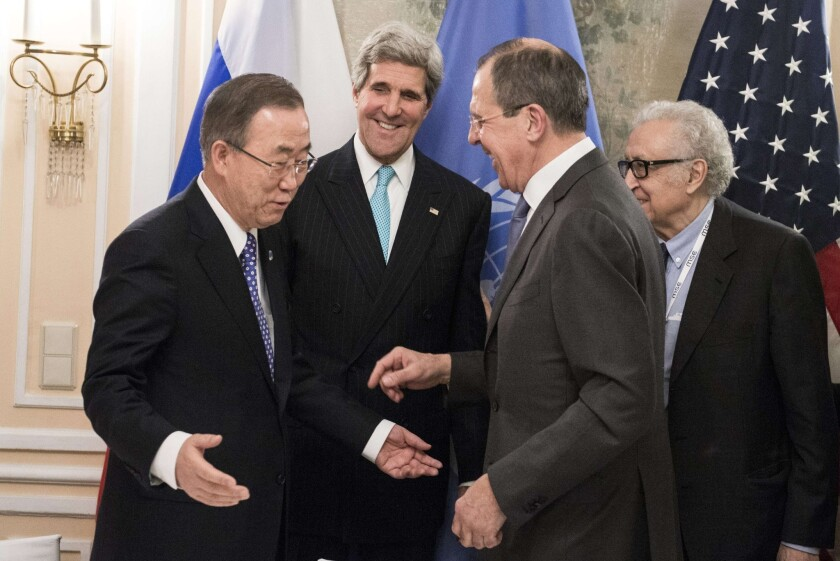 Secretary of State John F. Kerry, second from the left, appears with, from left, United Nations Secretary-General Ban Ki-moon, Russian Foreign Minister Sergei Lavrov and U.N. envoy for Syria Lakhdar Brahimi before a meeting in Munich.