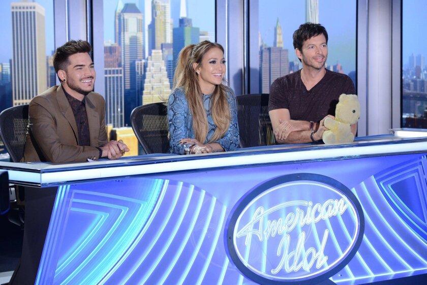 "From left: Adam Lambert, Jennifer Lopez and Harry Connick Jr., on ""American Idol XIV."""