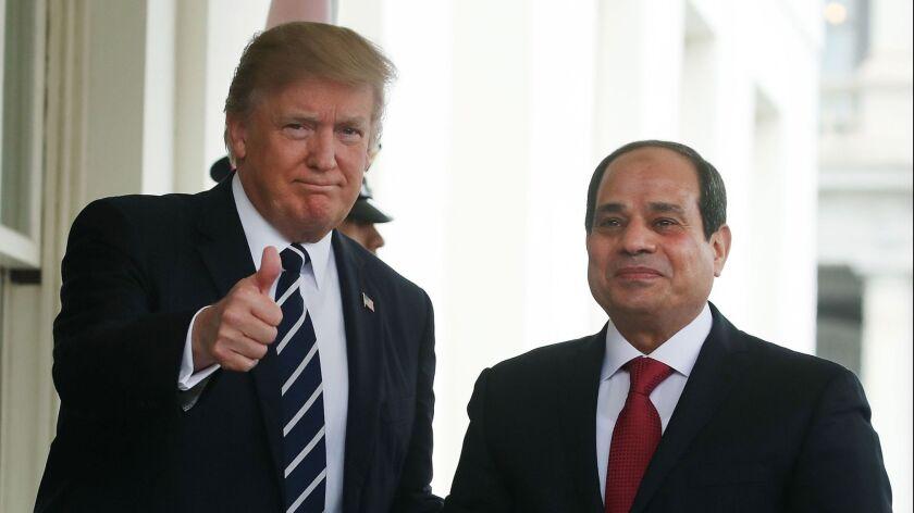 President Trump welcomes Egyptian President Abdel Fattah Sisi to the White House on April 3, 2017.