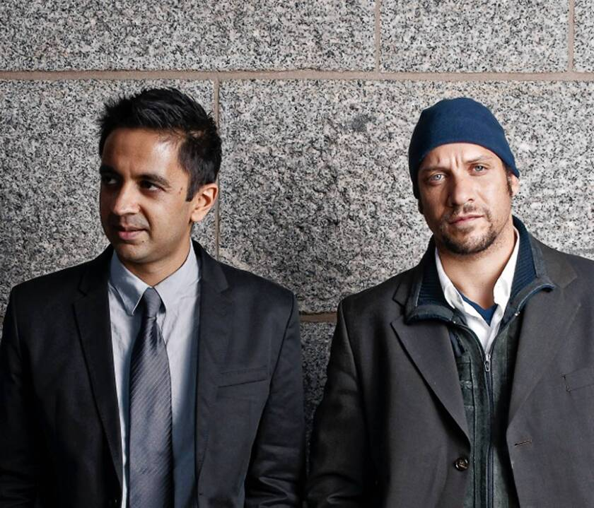 Vijay Iyer, left, with Mike Ladd.