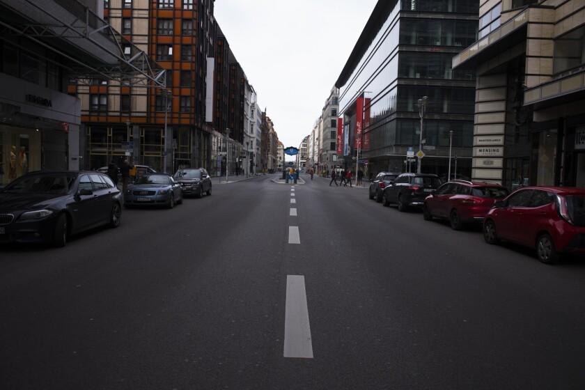 The Friedrichstrasse is almost empty in Berlin.
