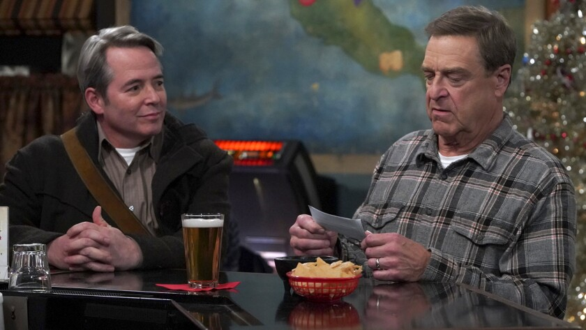 """Matthew Broderick, left, and John Goodman in """"The Conners"""" on ABC."""
