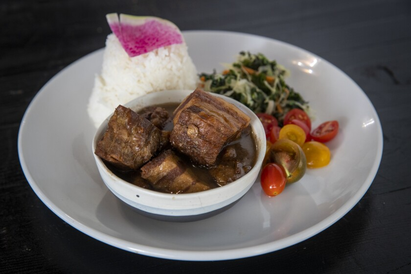 The twice-cooked pork belly adobo at Bebot Filipino Soul Food.