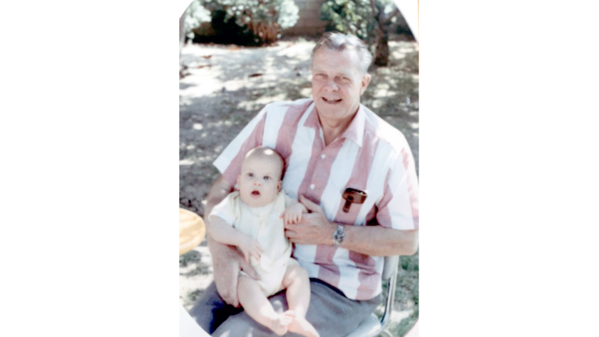Harold Breckheimer, who ran Boys Camp #31126 in La Tuna Canyon from 1946 to 1952, holds his nearly two-year-old grandson, Eric, son of Peter Breckheimer. Photo taken in 1968.
