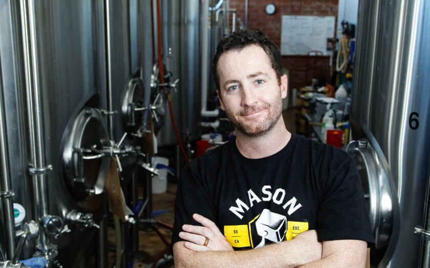 Director of brewery operations, Matt Webster works in the brewery on Thursday at Mason Ale Works in Oceanside, California. (Eduardo Contreras/Union-Tribune)