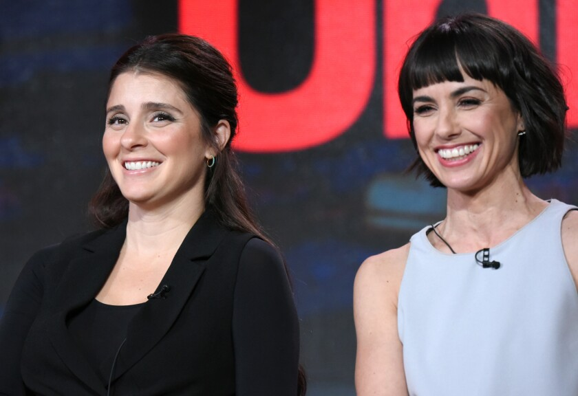 """Shiri Appleby, left, and Constance Zimmer appear during the """"Unreal"""" panel at the Lifetime 2016 Winter TCA."""
