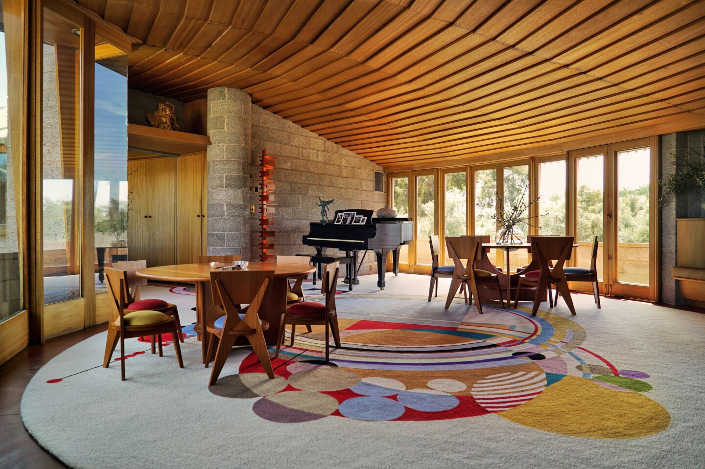 Spanning six acres, the estate centers on a spiral-shaped home of roughly 2,200 square feet.