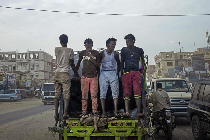 Migrants in Marib, Yemen.