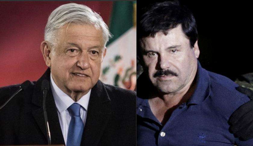 El presidente de México, Andrés Manuel López Obrador (i), y Joaquín 'El Chapo' Guzmán.