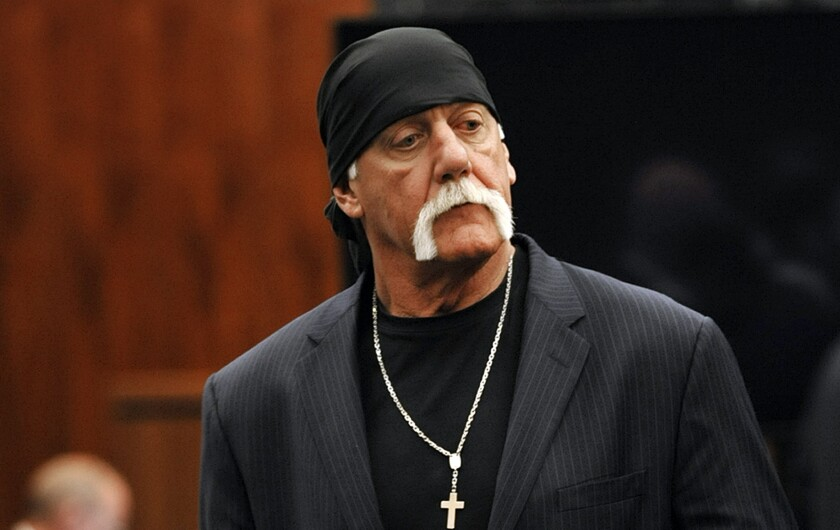 Hulk Hogan, whose given name is Terry Bollea, leaves the courtroom during a break in his trial against Gawker Media in St. Petersburg, Fla., in March.