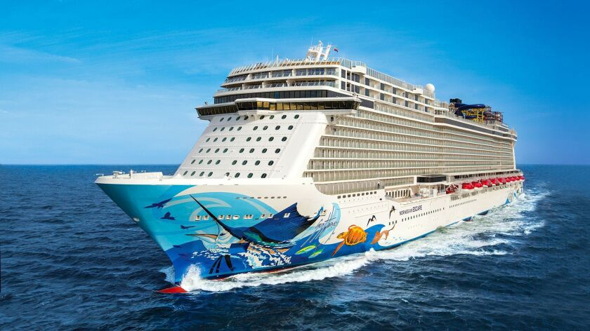The Norwegian Escape, shown here on sea trials, is scheduled to sail a revised western Caribbean itinerary through November.