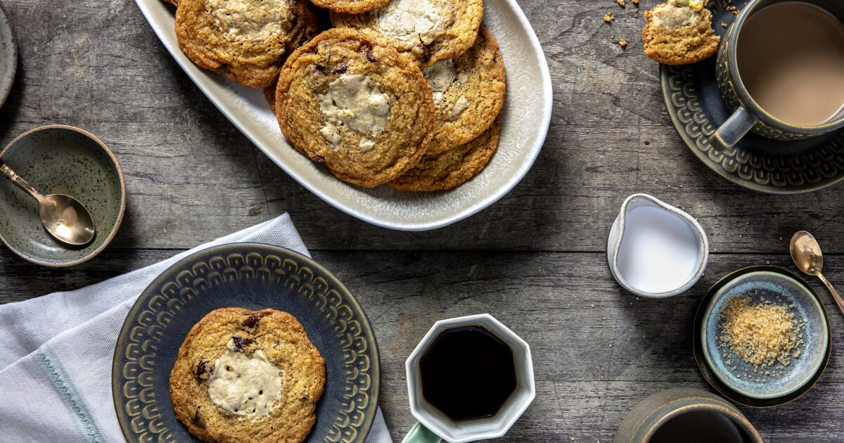 Chocolate Chip Tahini Cookies With Halva and Cardamom