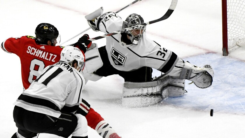 Kings goalie Jonathan Quick made 15 saves during the second period against the Chicago Blackhawks on Dec 3.