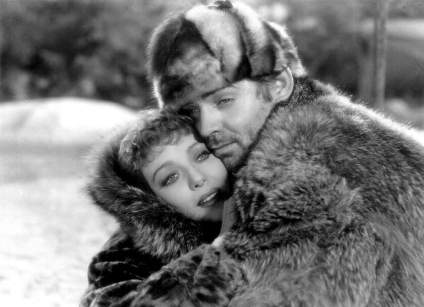 "Loretta Young and actor Clark Gable are pictured in a movie still from the 1935 film ""Call of The Wild."""
