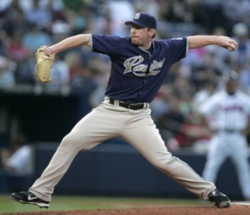 Padres Randy Wolf pitches in the third inning of the Friars' game against the Atlanta Braves Wednesday in Atlanta. AP Photo/John Bazemore